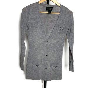 WHBM 100% Merino Wool Grey Cardigan/Sweater